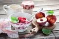 Картинка завтрак, творог, нектарины, малина, ягоды