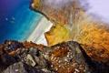 Картинка пляж, птицы, океан, чайки, облако, вид с ветху, вскала