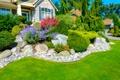 Картинка зелень, трава, дом, камни, газон, солнечно, особняк
