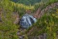 Картинка пейзаж, река, скалы, поток, лес, деревья, водопад