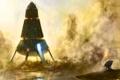 Картинка свет, туман, дождь, скалы, факел, водоем, Космический корабль