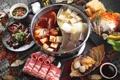 Картинка соус, бекон, морепродукты, японская кухня, блюда, тофу