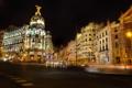 Картинка ночь, огни, улица, дома, перекресток, Spain, Madrid