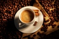 Картинка кофе, палочки, чашка, корица, мешок, кофейные зерна, coffee