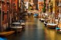 Картинка Венеция, катер, канал, дома, Италия, мост, лодка