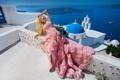 Картинка поза, стиль, настроение, модель, Санторини, Греция, платье
