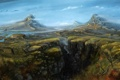Картинка пейзаж, горы, река, обрыв, водопад, долина, арт