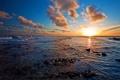 Картинка облака, закат, океан