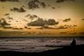 Картинка облака, задумчиво, горизонт, океан, прибой, человек, море