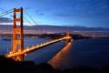 Картинка мост, пролив, вечер, освещение, Калифорния, Сан-Франциско, Золотые Ворота