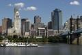 Картинка мост, город, здания, небоскребы, США, Цинциннати, судно