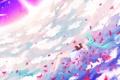 Картинка вода, девушка, облака, лепестки, арт, книга, vocaloid
