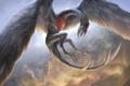 Картинка полет, дракон, крылья, перья, арт, в небе, yefumm
