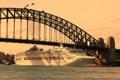 Картинка мост, город, река, фото, корабль, Sydney, круизный лайнер