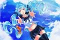 Картинка небо, девушка, облака, рыбка, арт, форма, школьница