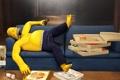 Картинка бутылка, пиво, Гомер, пицца, The Simpsons, Си́мпсоны
