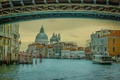 Картинка мост, лодка, Италия, Венеция, Гранд-канал, Санта-Мария-делла-Салюте