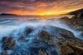 Картинка море, закат, скалы, вечер, Таиланд