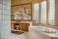 Картинка свечи, зеркало, душ, ванна, ванная, светильники
