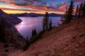 Картинка горы, озеро, рассвет, USA, кратер, Oregon, Crater Lake