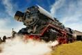 Картинка дым, паровоз, железная дорога
