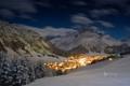 Картинка горы, ночь, огни, Австрия, деревня, Лех, Лех-ам-Арльберг