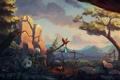 Картинка закат, дерево, мальчик, медведь, костер, панда, книга
