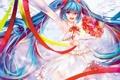 Картинка девушка, радость, танец, букет, vocaloid, hatsune miku, вокалоид