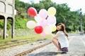 Картинка девушка, шары, азиатка