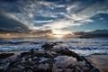Картинка закат, облака, берег, небо, солнце, волны, море