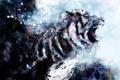 Картинка Тигр, оскал, краски, рисунок, пасть