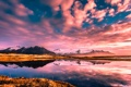 Картинка снег, закат, горы, озеро, равнина, Auster-Skaftafellssysla