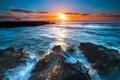 Картинка landscape, пейзаж, nature, закат, море, sunset, sea