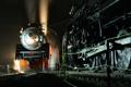 Картинка свет, ночь, дым, рельсы, паровоз, Поезд, пар
