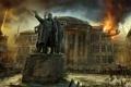 Картинка обломки, город, огонь, здания, арт, статуя, руины