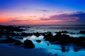 Картинка море, пляж, камни, рассвет