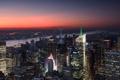 Картинка небо, свет, закат, city, город, lights, огни