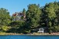 Картинка лес, деревья, дом, река, берег, Швеция, особняк