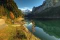 Картинка осень, горы, озеро, холмы