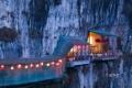 Картинка огни, скала, Китай, кафе, пещера, sanyou cave