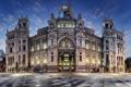 Картинка ночь, площадь, фонари, Испания, дворец, Madrid