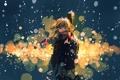 Картинка девушка, снег, огни, фон, гитара, арт, ruru
