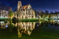 Картинка река, фото, ночь, Stuttgart, монастырь, собор, храм