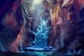 Картинка кристалл, вода, трещины, арт, пещера, ручейки