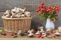Картинка корзина, грибы, шиповник, боярышник