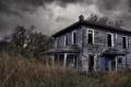 Картинка осень, трава, дом, здание, разруха, запустение