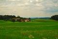 Картинка дорога, зелень, трава, деревья, река, поля, дома