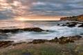 Картинка закат, камни, берег, море