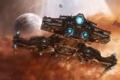 Картинка линейный крейсер, звезды, starcraft2, планета
