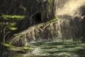Картинка вода, птицы, скала, озеро, дерево, гора, тропа